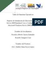 Reporte Instalación MW Server 2008 Standard Core y Confifuración MW Server 2008 Enterprise.docx