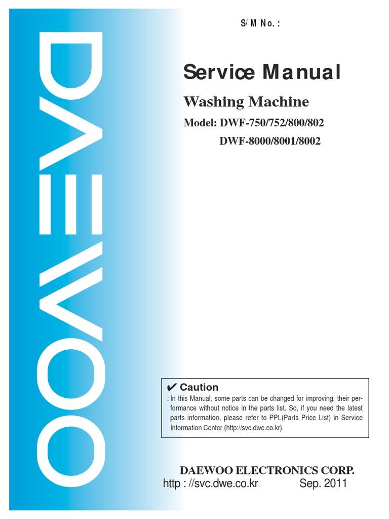 DWF-166WD Manual Servicio   Washing Machine   Clutch