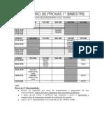 Calendário de Provas 2014 Bimestre1