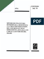 Cov 342 Metodo de Ensayo Para Determinar La Resistencia a La Traccion Por Flexion de Concreto Con Carga a Los Tercios