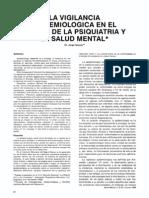 La Vigiancia Epidemiologica en El Campo de La Psiquiatria