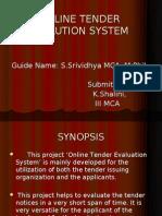 Online Tender Evalution System