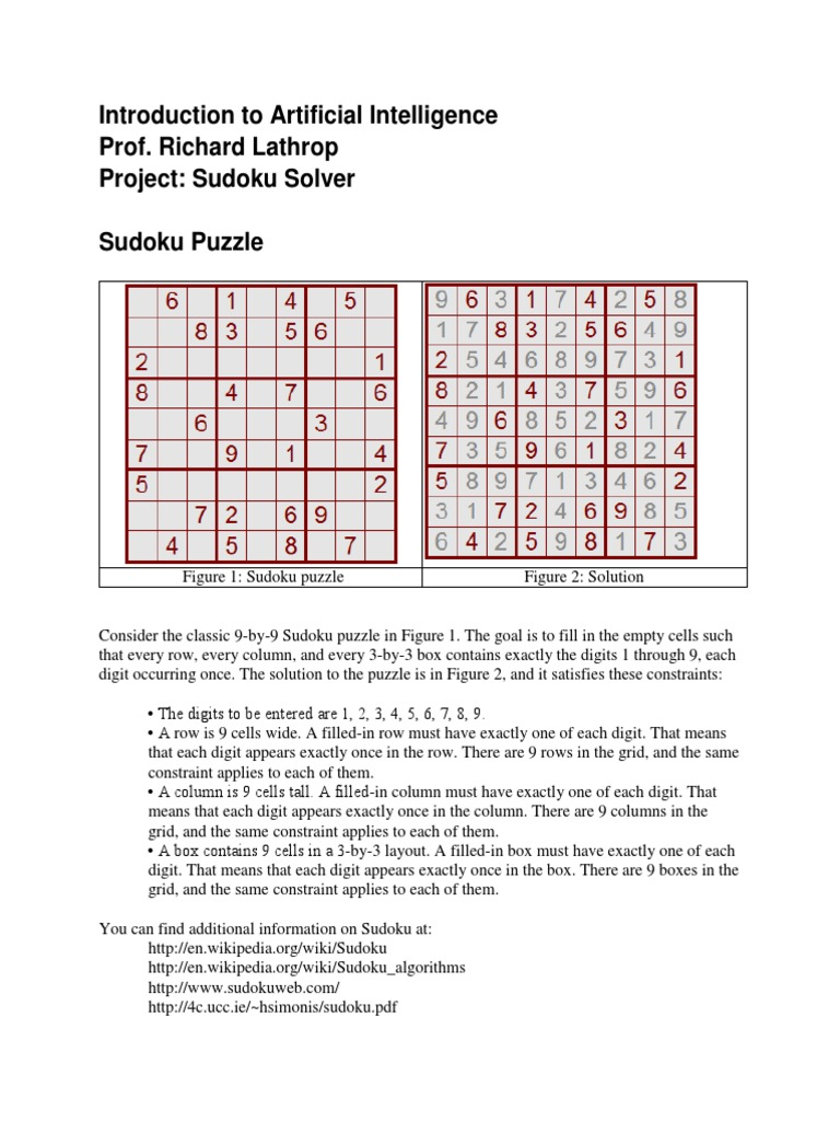 A i Project 2011 Sudoku | Parameter (Computer Programming) | Citation