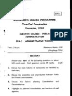 Bachelor's Degbee Prografoe Term-End Examination December.2oo5