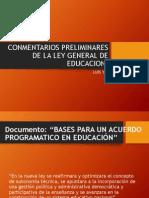Conmentarios Preliminares de La Ley General de Educacion