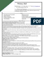 whitney hall resume