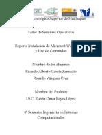Reporte Instalación Windows XP Ricardo Alberto García Ricardo Vázquez
