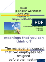 Academic English Workshop 0910S7 Misplaced Modifiers