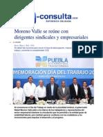 01-05-2014 e-consulta.com - Moreno Valle se reúne con dirigentes sindicales y empresariales.