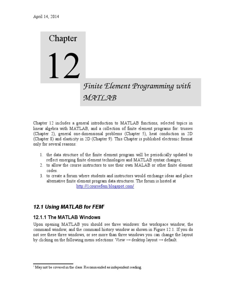 Chapter 12_matlab FEM | Matrix (Mathematics) | Finite Element Method