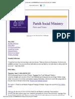 May 2014 CCUSA Parish Social Ministry News and Notes