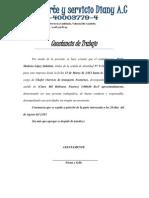Transporte y Servicios Diany C.a COnstancia de Trabajo Wilmer Rodriguez