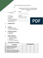 PLAN DE PARTE PRÁCTICA DEL TRABAJO DE INVESTIGACIÓN EDUCATIVA