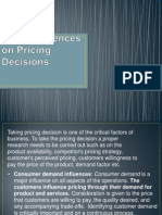 Major Influences on Pricing Decisions