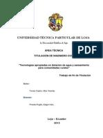 Tecnologias Para La Dotacion de Agua en Zonas Rurales (Un)