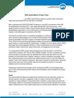 Quality Metrics Status Report ISPE