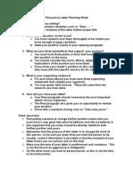 Persuasive Letter Planning Sheet