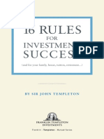Sir John Templeton - 16 Rules for Investment Success