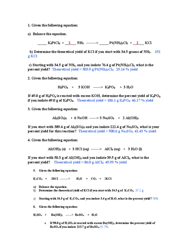 Theoretical and Percent Yield Worksheet Answers