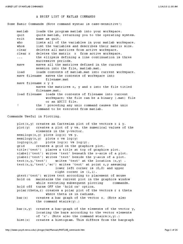 Brief MatLab Commands   Matrix (Mathematics)   Matlab