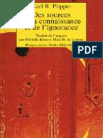 POPPER, Karl, Des Sources de La Connaissance Et de l'Ignorance (1960, Rivage)