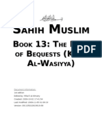 Sahih Muslim - Book 13 - The Book of Bequests (Kitab Wasiyya