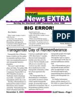 GLBT News EXTRA Nov 5 09 Extra - Transgender Day of Remembrance Service 11/20