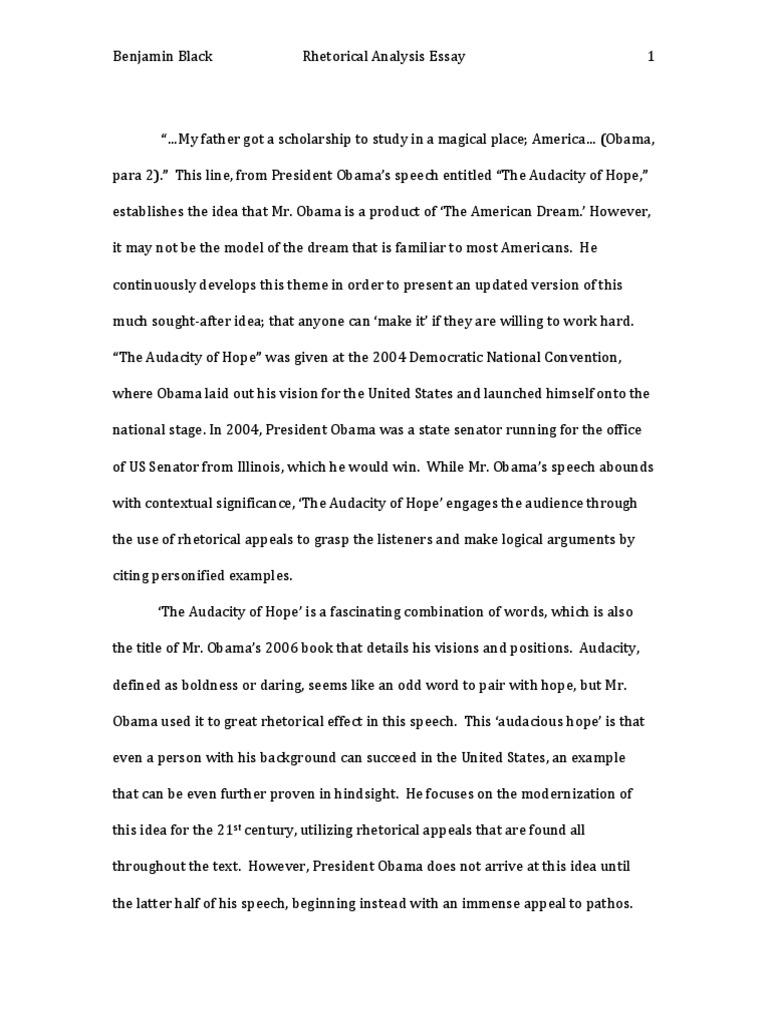 Rhetorical Analysis The Audacity of Hope Barack Obama – Rhetorical Analysis Worksheet