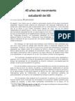 A 40 AÑOS DEL MOVIMIENTO ESTUDIANTIL DEL 68