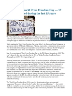 PAKISTAN World Press Freedom Day — 57 Journalists Killed During the Last 15 Years