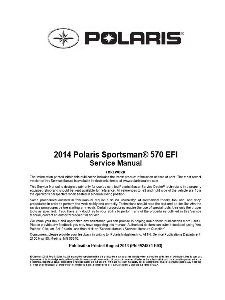 Polaris 570 Sportsman Service Manual   Fuel Injection   Transmission  (Mechanics)