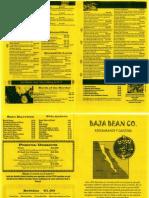 Baja Bean Co. Menu