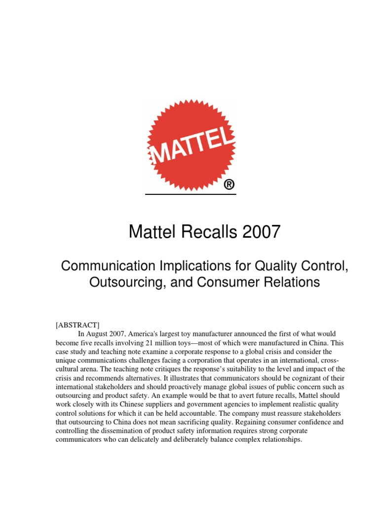 mattel outsourcing strategy