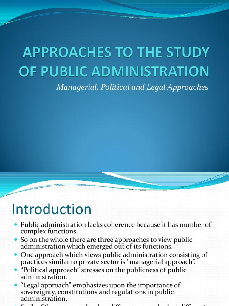 managerial approach in public administration