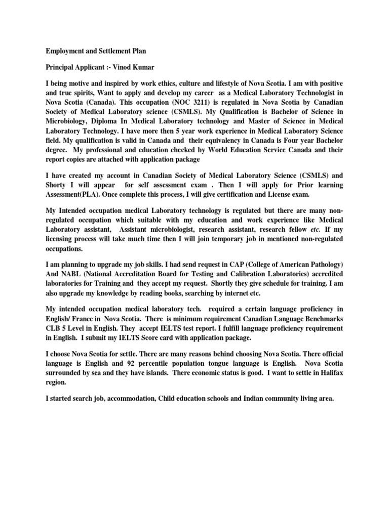 Employment and Settlement Plan Nova Scotia | Medical Laboratory ...