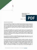 Lettre d'Alain Rousset à Manuel Valls