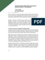 REPERE ESENTIALE PENTRU FORMULAREA STRATEGIEI DE MARKETING DIRECT A ORGANIZAIEI