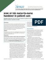 Role of the Nurse to Nurse Handover in Patient Care
