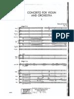Barber - Op 14 - Violin Concerto Score