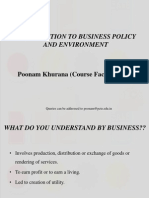 Introduction to Business Policy and Environment