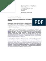 Lettre à Nicolas Sarkozy concernant la candidature d'Herman Van Rompuy à la présidence de l'UE