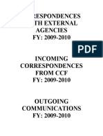 Corespondences With External Agencies