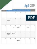 April 2014 Schedule
