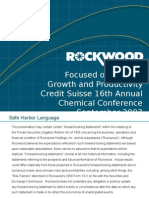Focused on Organic Growth and Productivity Credit Suisse 16th Annual