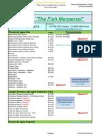 Lista de Precios y Artículos Acuario the Fish Monserrat
