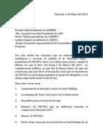 Nota a los miembros de Asamblea General de FECOPA Domingo 4 Abril 2014