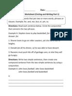 Conjunctions Circling Writing P 1 Beginner