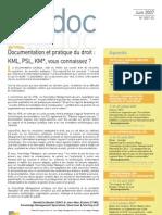 Bibdoc 2007-2 | Eté 2007 (Documentation & Droit)