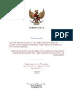 Presidential Regulation No. 39 of 2014 Indonesia Investment Negative List (Wishnu Basuki)