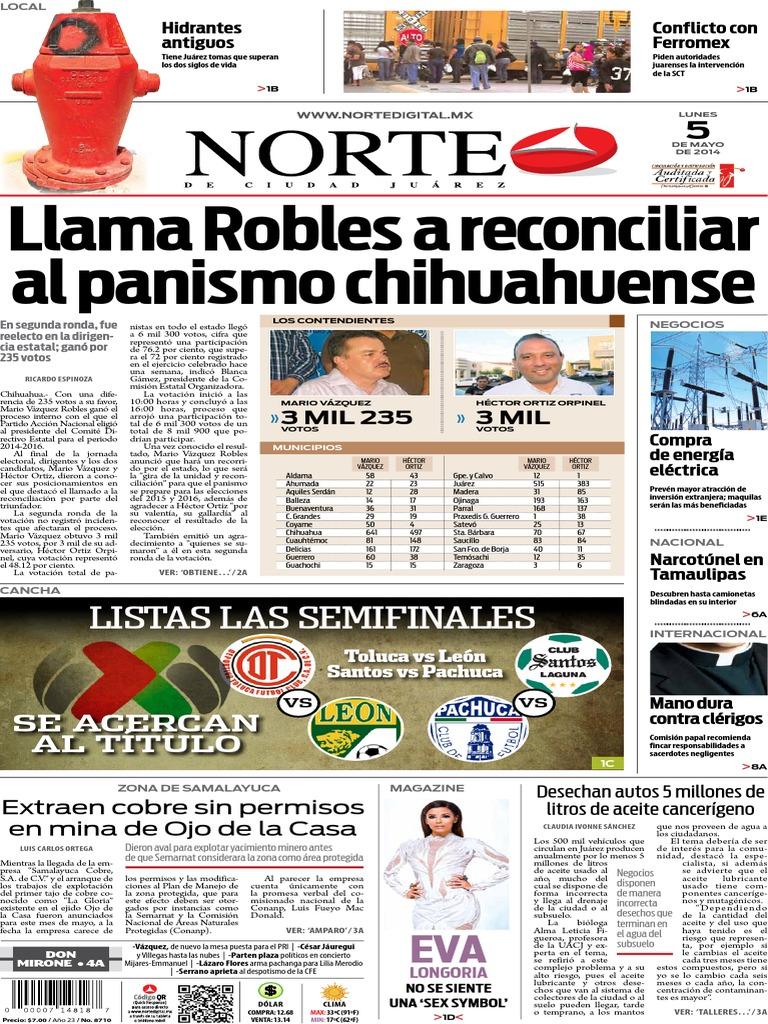 Periódico Norte De Ciudad Juárez Edición Impresa Del 5 Mayo
